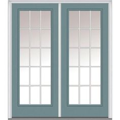 Milliken Millwork 74 in. x 81.75 in. Classic Clear Glass GBG Low-E Full Lite Painted Fiberglass Smooth Exterior Double Door, Riverway