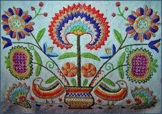 A magyar hímzés - rábaközi hímzés - madaras-szegfűs-gránátalmás életfa, egy zongoraterítő részlete