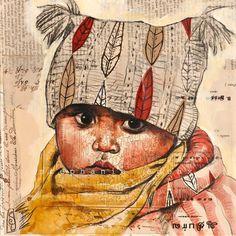 Bébé Gorkha - Inde by Stéphanie Ledoux by elvira Art Et Illustration, People Illustration, Illustrations, Collages, Collage Art, Amazing Drawings, Art Drawings, L'art Du Portrait, Portraits
