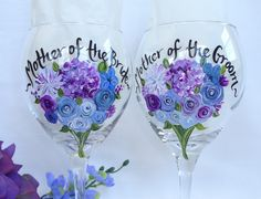 """Mother of the Bride & Groom Wine Glasses - """"PERSONALIZED to Your WEDDING FLOWERS"""" Bridesmaid Wine Glasses! by samdesigns22 on Etsy"""