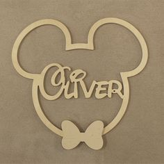Wooden Mickey Mouse Disney Mickey Mouse with Bow Tie Wooden image 7 Wooden Name Signs, Baby Name Signs, Wooden Names, Bow Tie Tattoo, Diy Laser Cutter, Tattoos With Kids Names, Son Tattoos, Mouse Tattoos, Family Tattoos