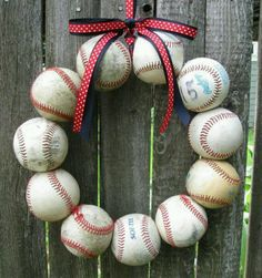 Baseball wreath. This is going to be my next summer wreath DIY project. :-)
