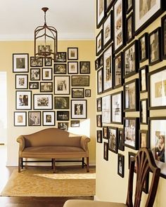 gallery wall, this would make my husband happy (who wants ALL of our family photos displayed), me? Not so much lol
