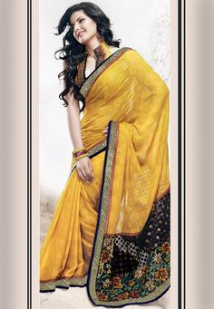 Sunrise Yellow Faux Georgette Saree with Blouse: STS499