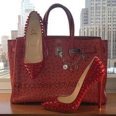 .@upcloseandstylish | Exchanged the ring strass and spikes Highness #Louboutins for the red on red ...
