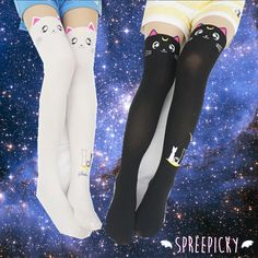 Can not stop screaming when I see these tights! Aren't they too kawaii to death??? Do not hesitate now, take both of them home right away, take them to the shopping chart now, meowwwww~ Free shipping worldwide! For seasons: spring/ summer/ autumn/ winter These tights are made of Cotto...