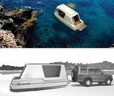 Aquatic Caravan: Floating Travel Trailer + Water-Ready RV. OH YEAH!!! I would live in this.