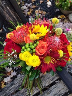 Great for Fall!   Red, yellow, orange and green bouquet