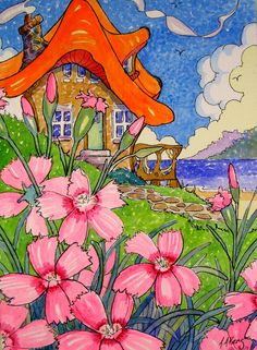 Sweet Cottage by the Bay Storybook Cottage Series from original watercolor painting/dianthus/pinks/sea/ocean