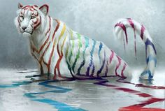 DIY Diamond Painting White Rainbow Tiger in Water - craft kit Arte Furry, Furry Art, Mythical Creatures Art, Fantasy Creatures, Cute Animal Drawings, Cute Drawings, Tiger In Water, Tiger Art, Tiger Tiger