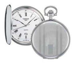 Tissot T-pocket Men's Watch T83655313 Tissot. $295.00. Battery Operated Quartz Movement. White Dial. Brass Case & Cover with Pocket Chain. Polished Steel Case. Roman Numerals