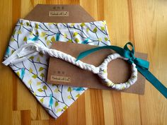 Organic Baby Teether Toy and Bandana Bib Set in Teal Birds, Nature, Natural, Organic Cotton - pinned by pin4etsy.com