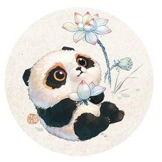 Cute Panda Drawing, Cute Animal Drawings, Cute Drawings, Panda Illustration, Illustration Art Drawing, Cute Panda Wallpaper, Bear Wallpaper, Image Panda, Panda Art