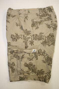 Nearly Tiki Coconut Palm Tree Hibiscus Tan Hawaiian Camo Cargo Short Men 36 2269 #Wonderwall #Cargo
