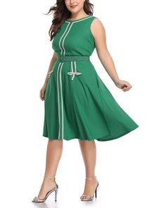 a66a651a17c Women s Plus Size 1960s Vintage Crew Neck Sleeveless A-line Midi Dress with  Belt at Amazon Women s Clothing store