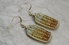Crystal Wire Wrapped Earrings Gold Wire Wrapped by ForestBeads, $29.99