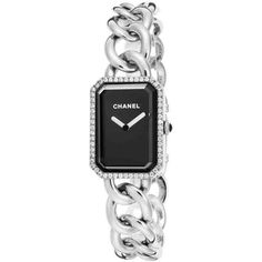 Chanel Premiere Black Dial Stainless Steel Diamond Ladies Watch (77.001.325 IDR) ❤ liked on Polyvore featuring jewelry, watches, black dial watches, quartz movement watches, analog wrist watch, black face watches and rectangular watches