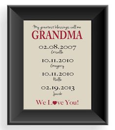 grandma gift 8x10 print up to 7 names personalized gift for grandmother nana gift mothers day gift birthday gift other colors