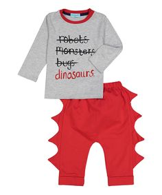 Take a look at this wind + thistle Gray 'Dinosaurs' Tee & Red Pants - Toddler today!