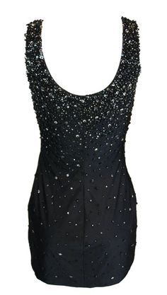 S S 1996 Gianni Versace Runway Black Silk Beaded Micro Mini Dress 40 322f68fcca93