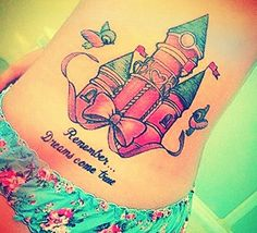 This castle tattoo is so presh! The bow & Cinderella birds make it