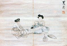 (Korea) 다림질 by Shin Yum-bok ? ca century CE. Korean Painting, Korean Art, Postmodernism, Conceptual Art, Folk, Draw, Japan, Traditional Dresses, 18th Century