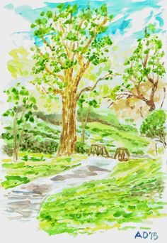 A sketch of the path by my house. See more at my blog: http://artistadron.blogspot.com/