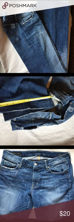 """CITIZENS Flare low waist """"Faye 003"""" SZ 30 Labeled Citizens of Humanity by Jerome Dayan, Faye 003, low waist full leg.  Medium light wash with topstitching in brown, navy, light blue and gold.  Trouser hem, distressing on pockets,  front, waistband and hems.  Fading pattern looks like a fireworks pattern.  Measured flat.  WAIST 16"""", Low hip 20"""".  Rise 8"""", Rear rise 11"""".  Inseam 33"""".  Width at hem 10"""".    FABRIC soft and thick, imported 98% cotton 2% Elastan.  Made in USA.  Excellent…"""