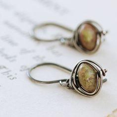 Autumn Gemstone Dangle Earrings, Sterling Silver Jasper Earrings, Wire Wrapped Handmade, aubepine by aubepine on Etsy https://www.etsy.com/listing/80374675/autumn-gemstone-dangle-earrings-sterling
