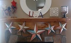 red white and blue USA mantel
