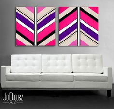 "Original abstract painting. 2 piece canvas art. 24x50"" Large painting with pink, purple. Girly painting. Modern wall art."