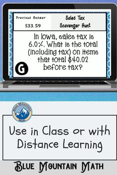 Looking for a fun, engaging activity that gets the kids moving and talking about math? In this resource, students practice calculating sales taxes using percents and you can choose between a printed activity or digital (self-grading) activity. The printed activity works great in the classroom while the digital activity can be used for distance learning or absent students.
