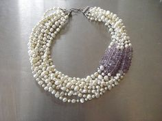 Fresh Water Pearl & faceted Amethyst Duchess Necklace by HRH The Duchess of State