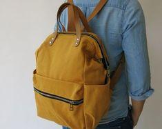 Canvas in Pumpkin diaper Backpack handbag Canvas backpack Diaper Backpack, Laptop Backpack, Leather Backpack, Diaper Bag, Canvas Backpack, Work Travel, Beige Color, School Bags, Going Out