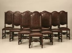 Impressive Pr of Antique French Louis XIII Needlepoint Throne/Dining ...