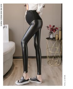 The drawstring high waist belly lift pants for pregnant women is so casuala nd loose you will like it. #maternitypants #maternitypants #maternitypantspattern #maternitypantspatternsewing #comfortablematernitypants #maternitypantsoutfit #maternitypantsoutfitcasual Warm Leggings, Soft Pants, Maternity Pants, Leather Trousers, Fashion Black, High Waist, Black Leather, Womens Fashion, Casual