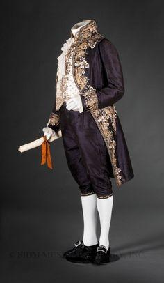 Court suit  Uncut voided silk velvet, silk faille, silk embroidery floss, gold & silver embroidery purl & frieze, rhinestone & metal sequins  c. 1810-14  Paris, France