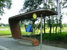 Bus stop Salinenpark at Rheine, Germany