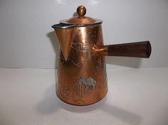 Vintage Victoria Mexico TAXCO Cony Copper SILVER Coffee HOT CHOCOLATE Pot 1950s
