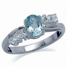 Genuine Blue Topaz 925 Sterling Silver Engagement Ring Size 6 >>> Don't get left behind, see this great jewelry : Engagement Ring