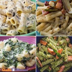 4 FIRST EASY AND PRIMI FACILI E CREMOSI Pasta with ash, pasta with cream of artichokes and bacon, gnocchi with stracchino and spinach, pasta with cream of zucchini and salmon: 4 first courses, one better than the other! Easy and quick to prepare! Spinach Recipes, Salmon Recipes, Diet Recipes, Vegetarian Recipes, Cooking Recipes, Healthy Recipes, Pasta Recipes Video, Artichoke Pasta, Creamy Pasta