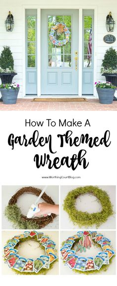 Step-by-step directions for how to make an adorable garden themed wreath using seed packets. An inexpensive, 15 minute project!