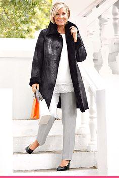 Kåpe med kontrastfarget fuskepels m. Normcore, Chic, Collection, Style, Fashion, Shabby Chic, Swag, Moda, Elegant