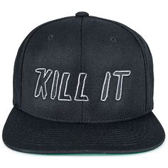 A Question Of Kill Snapback Cap ($61) ❤ liked on Polyvore featuring accessories, hats, hair, headwear, snapbacks, snap back cap, snapback hats, cap hats, snapback cap and cap snapback