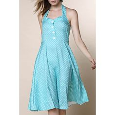11.67$  Buy here - http://disf6.justgood.pw/go.php?t=168966508 - Vintage Halter Polka Dot Print Pleated Ball Gown Dress For Women