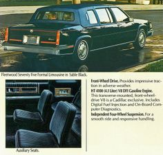 1986 Cadillac Fleetwood Seventy-Five Formal Limousine Counting Cars, Cadillac Ct6, Flower Car, Cadillac Fleetwood, Ford Galaxie, Gasoline Engine, Car Advertising, Limo, Sexy Cars