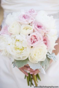 Soft blush and white roses and beautiful white peonies! KLK Photography, Bouquet by agoodaffair.com