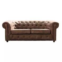 3-Sitzer Sofa - braun - Kunstleder