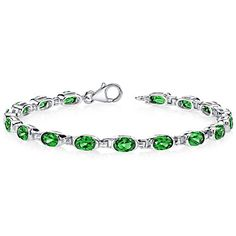 7.00 carats Oval Shape Simulated Emerald Bracelet in Sterling Silver Rhodium Nickel Finish *** More info could be found at the image url.