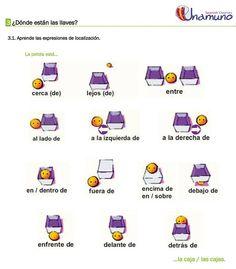 A1 - preposiciones de lugar https://www.pinterest.com/leticianoser/vocabulario/